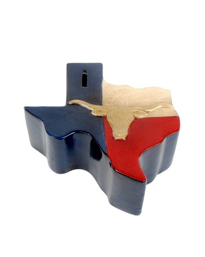 Metrotex Hand-Painted Ceramic Texas Longhorn Bank with Removable Money Plug, Red/White/Blue