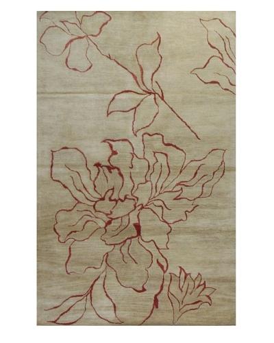 Meva Rugs Flora Rug, Ivory, 5' x 8'