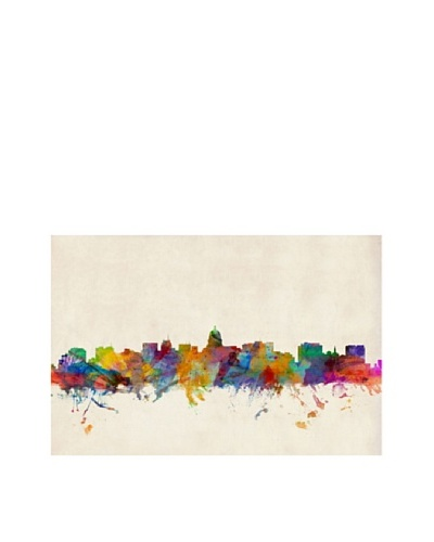 Trademark Fine Art Madison Watercolor Skyline by Michael Tompsett