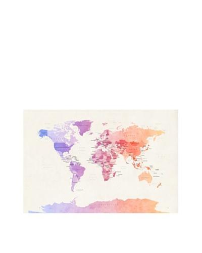 Trademark Fine Art Poltical Watercolor Map by Michael Tompsett