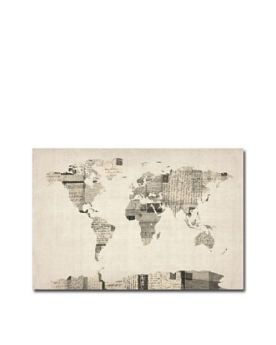 Michael Tompsett Vintage Postcards World Map Print on Canvas