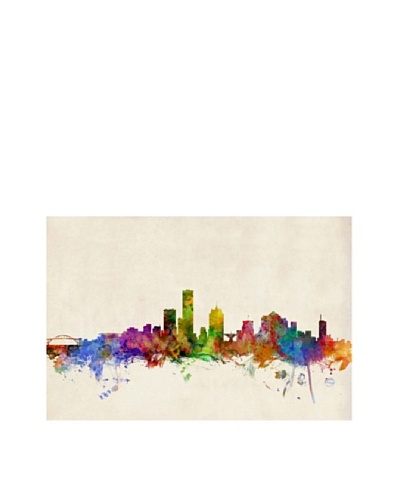 Trademark Fine Art Milwaukee Watercolor Skyline by Michael Tompsett