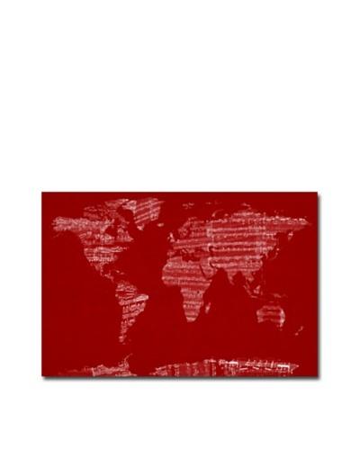 Michael Tompsett Canvas Artwork, Sheet Music World Map