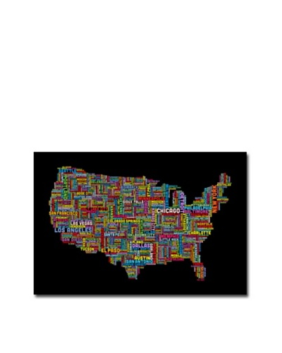 Michael Tompsett Canvas Artwork, US Cities Text Map II