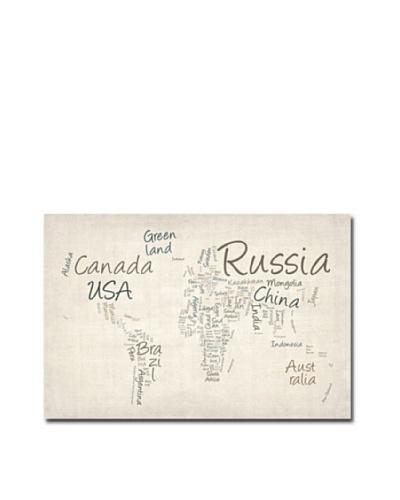 Michael Tompsett Typography World Map Print on Canvas