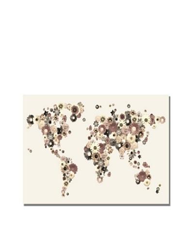 Michael Tompsett Flowers World Map Canvas Art