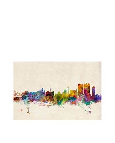 Trademark Fine Art Calcutta Watercolor Skyline by Michael Tompsett