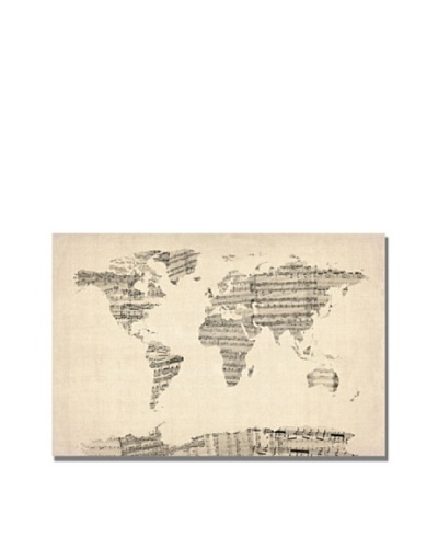 Michael Tompsett Old Sheet Music World Map Print on Canvas