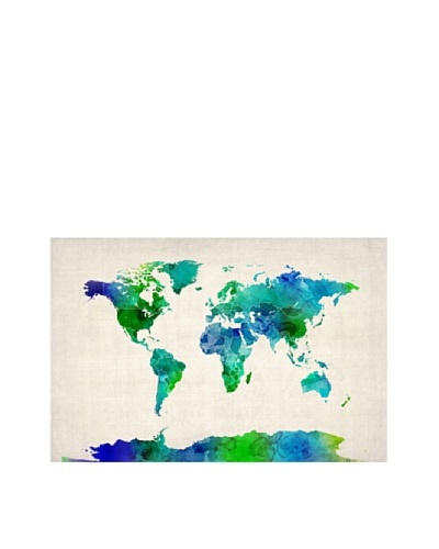 Trademark Fine Art World Map Watercolor by Michael Tompsett