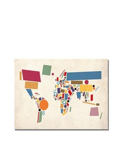Michael Tompsett Abstract Shapes World Map Canvas Art
