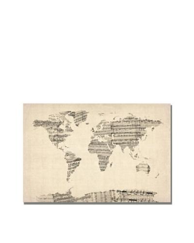 Michael Tompsett Old Sheet Music World Map Canvas Art