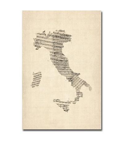 Michael Tompsett Italy Old Sheet Music Map Canvas Art