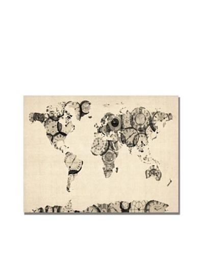 Michael Tompsett Old Clocks World Map Canvas Art