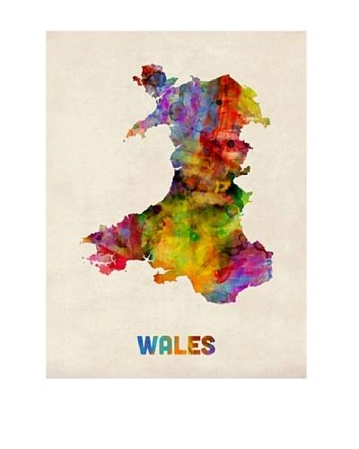 Trademark Fine Art Wales Watercolor Map by Michael Tompsett