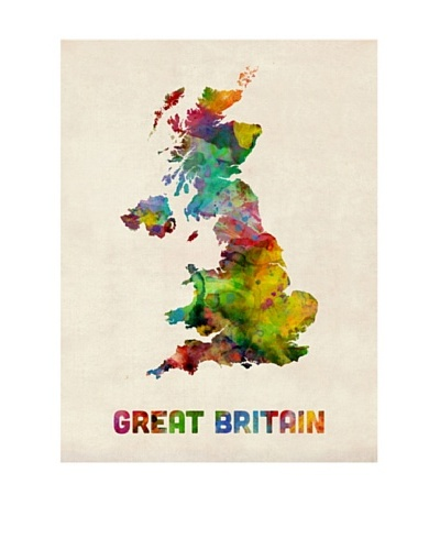 Trademark Fine Art UK Watercolor Map by Michael Tompsett