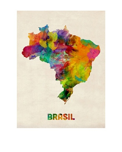 Trademark Fine Art Brasil Watercolor Map by Michael Tompsett