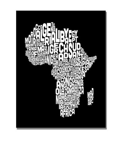 Michael Tompsett Africa Font World Map Canvas Art
