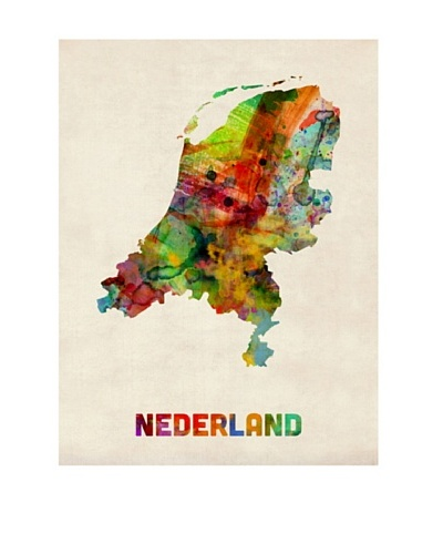 Trademark Fine Art Netherlands Watercolor Map by Michael Tompsett