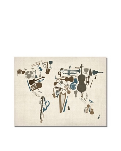 Michael Tompsett Instrument World Map Canvas Art