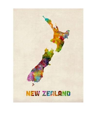 Trademark Fine Art New Zealand Watercolor Map by Michael Tompsett