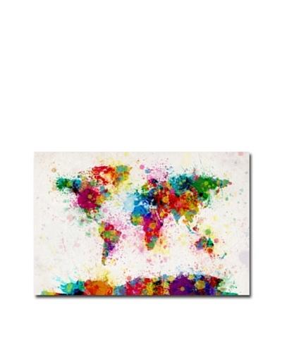 Michael Tompsett Paint Splashes World Map Canvas Art