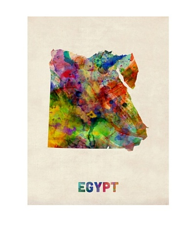 Trademark Fine Art Egypt Watercolor Map by Michael Tompsett