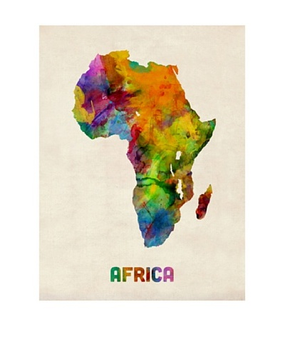 Trademark Fine Art Africa Watercolor Map by Michael Tompsett