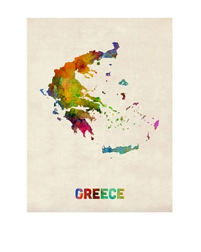 Trademark Fine Art Greece Watercolor Map by Michael Tompsett