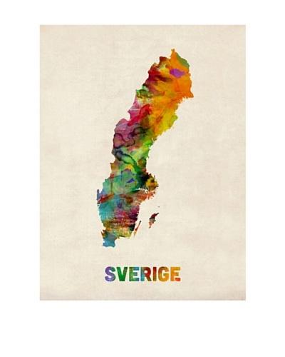 Trademark Fine Art Sweden Watercolor Map by Michael Tompsett