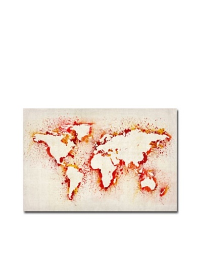 Michael Tompsett Paint Outline World Map Canvas Art