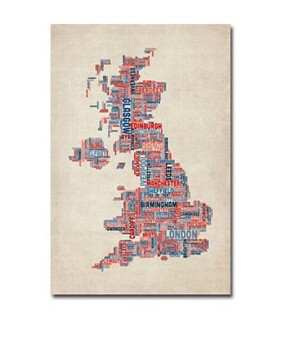 Michael Tompsett UK Cities Text Map Canvas Art