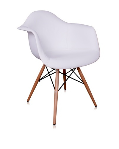 Control Brand Mid Century-Inspired Arm Chair with Vinyl-Covered Seat, White