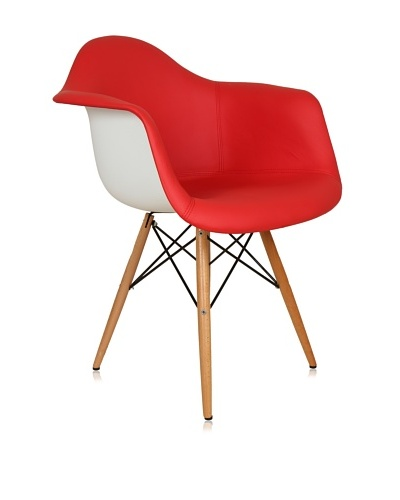 Control Brand Mid Century-Inspired Arm Chair with Vinyl-Covered Seat, Red/White