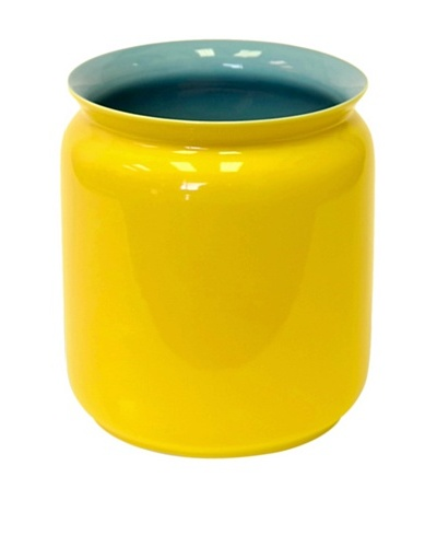 Middle Kingdom Porcelain Scholar Vase, Turquoise/Yellow