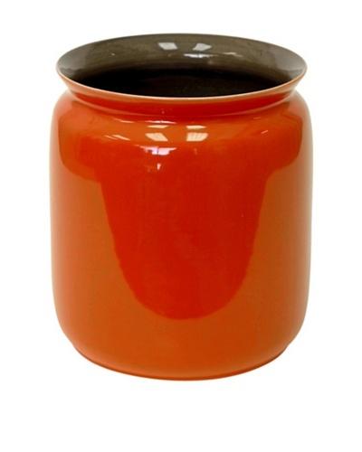 Middle Kingdom Porcelain Scholar Vase, Spice Green/Coral Red