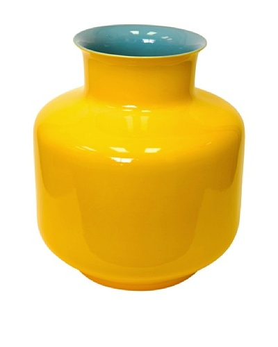 Middle Kingdom Porcelain Monk Vase, Turquoise/Yellow