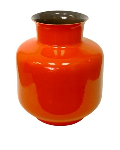 Middle Kingdom Porcelain Monk Vase, Spice Green/Coral Red