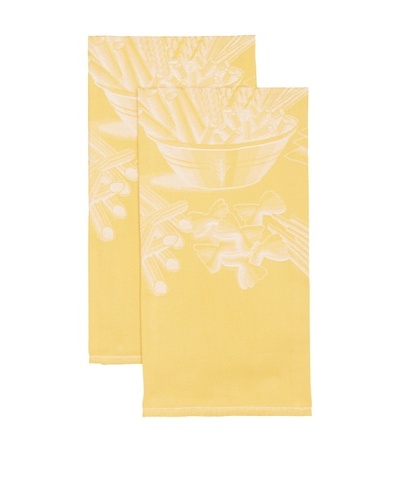 Mierco Fine Linens Set of 2 Pasta Jacquard Tea Towels, Yellow, 23 x 32