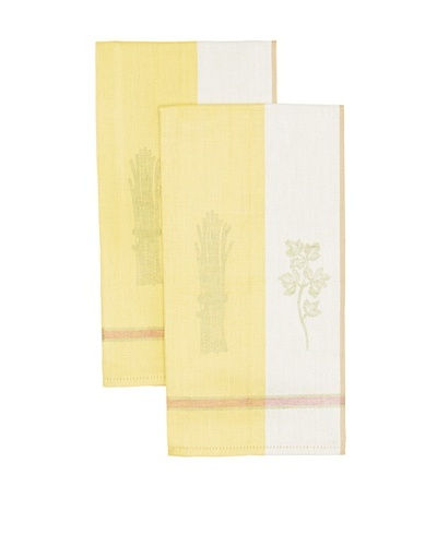 Mierco Fine Linens Set of 2 Vegetable Jacquard Tea Towels [Yellow/Taupe]