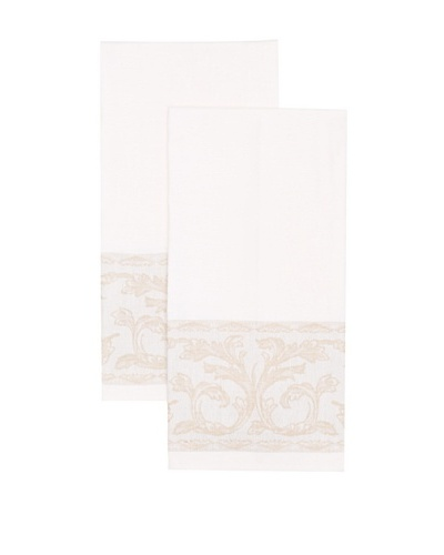 Mierco Fine Linens Set of 2 Floral-Border Tea Towels, White/Taupe, 20 x 28