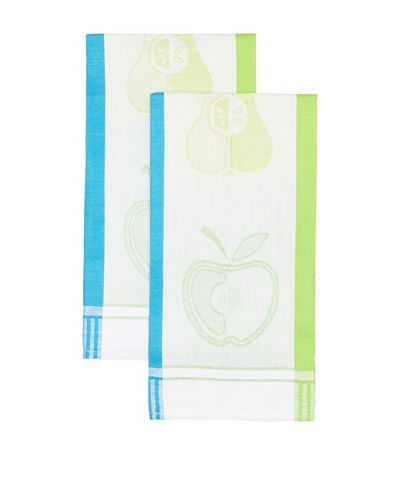 Mierco Fine Linens Set of 2 Apple Jacquard Tea Towels, Blue/Green, 20 x 28