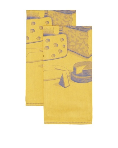 Mierco Fine Linens Set of 2 Formaggio Cheese Jacquard Tea Towels, Yellow/Blue, 23 x 32