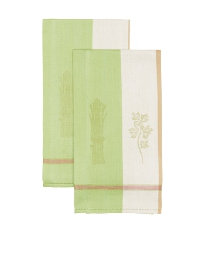 Mierco Fine Linens Set of 2 Vegetable Jacquard Tea Towels [Green/Taupe]