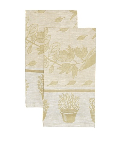 Mierco Fine Linens Set of 2 Herbs Jacquard Tea Towels, Yellow/Taupe, 20 x 28