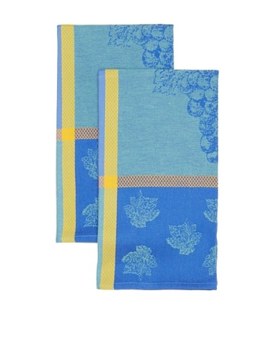 Mierco Fine Linens Set of 2 Provence Grape Jacquard Tea Towels, Blue/Green, 26 x 26