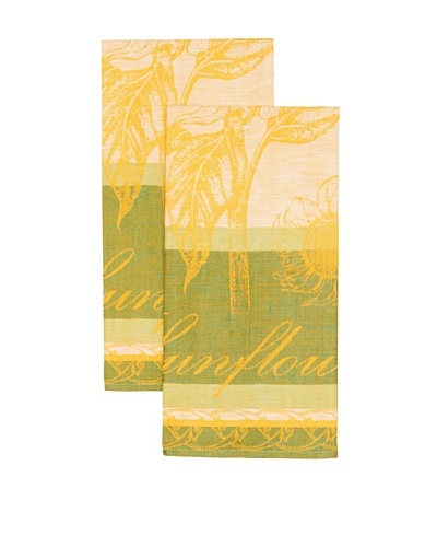 Mierco Fine Linens Set of 2 Sunflowers Jacquard Tea Towels [Green]