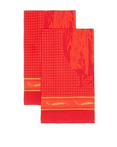 Mierco Fine Linens Set of 2 Rooster Jacquard Tea Towels [Red]
