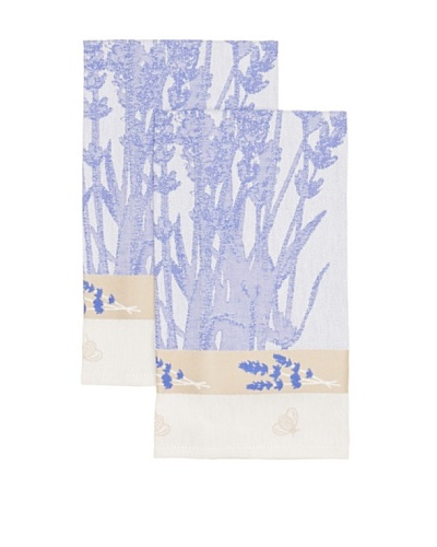 Mierco Fine Linens Set of 2 Lavender Fields Jacquard Tea Towels, Lavender/Taupe, 26 x 26