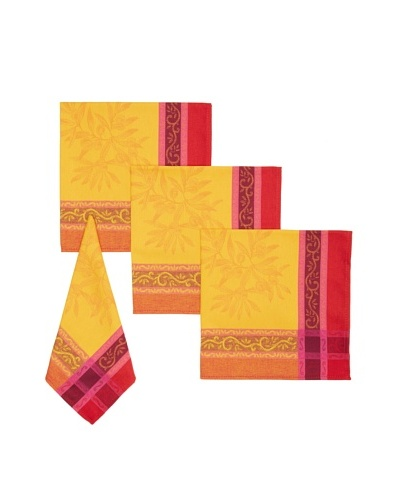 Mierco Fine Linens Set of 4 Olives Jacquard Napkins, Red/Gold, 18 x 18