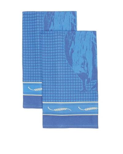 Mierco Fine Linens Set of 2 Rooster Jacquard Tea Towels [Blue]
